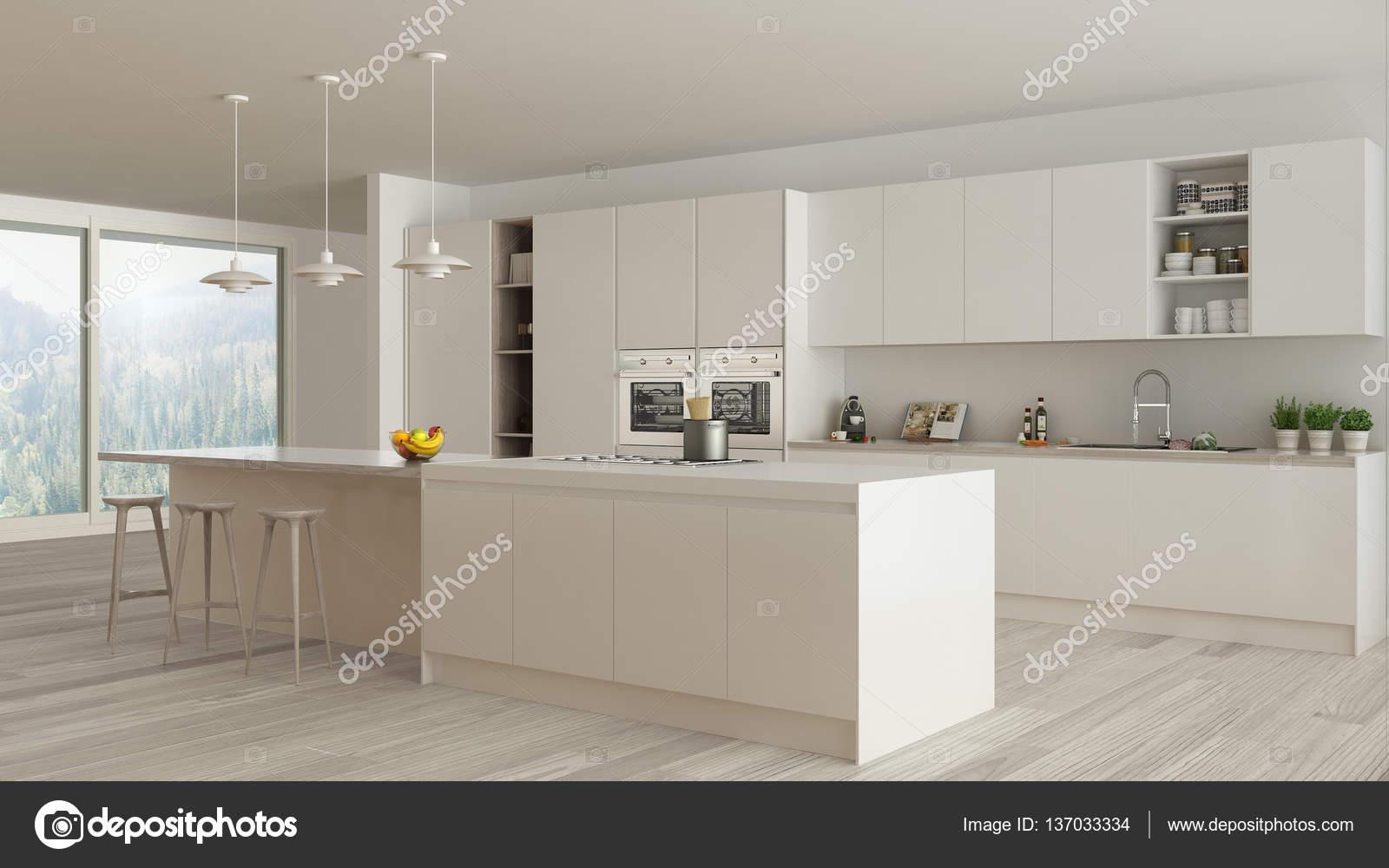 weiße Küche mit Holz- und weißen Details, minima — Stockfoto ...