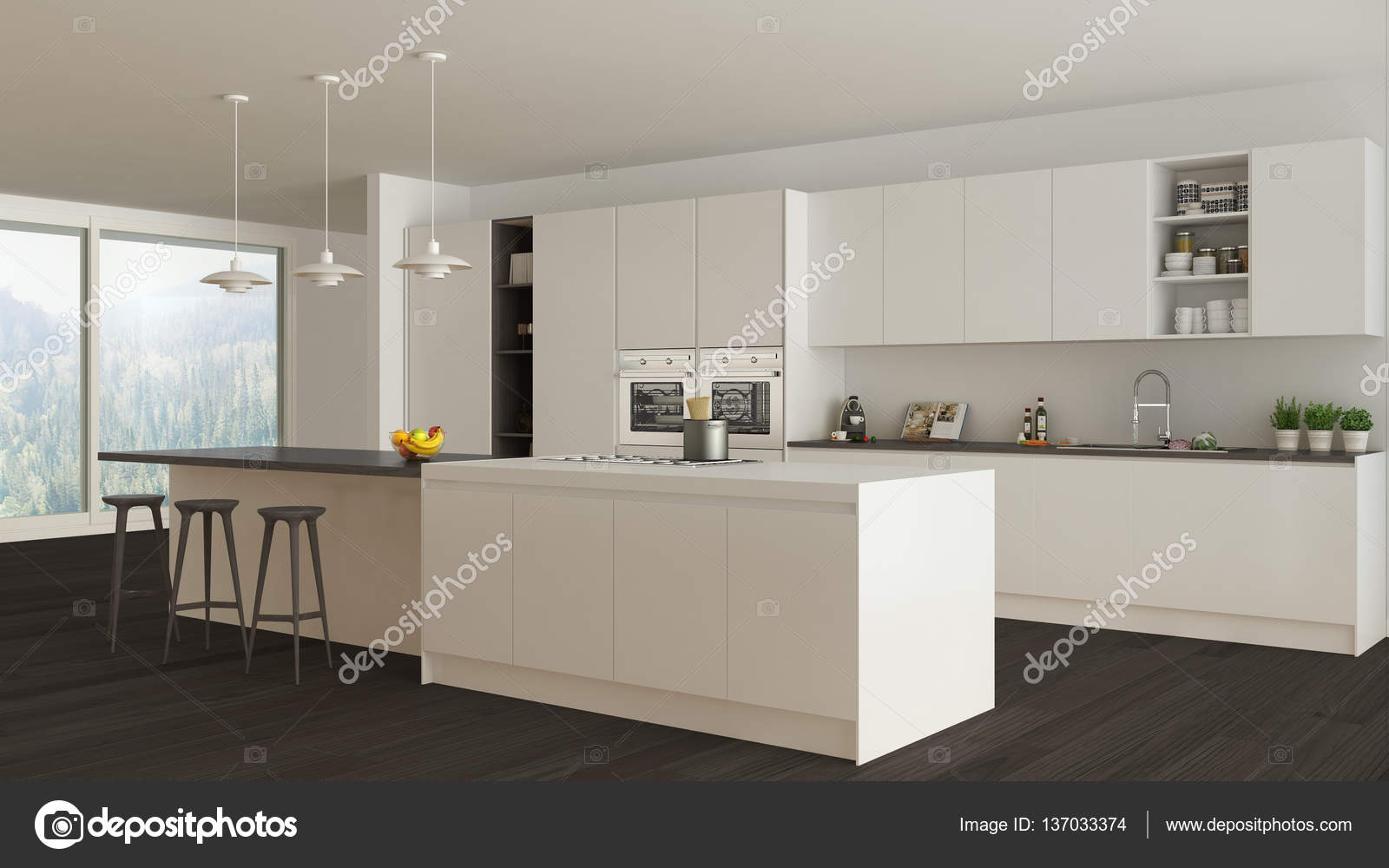 Cucina scandinava bianca con dettagli in legno e bianchi ...