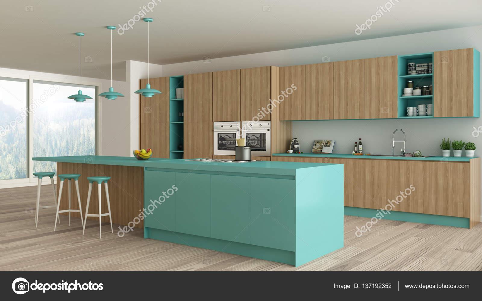 Minimalistische keuken met houten en turquoise details scandina