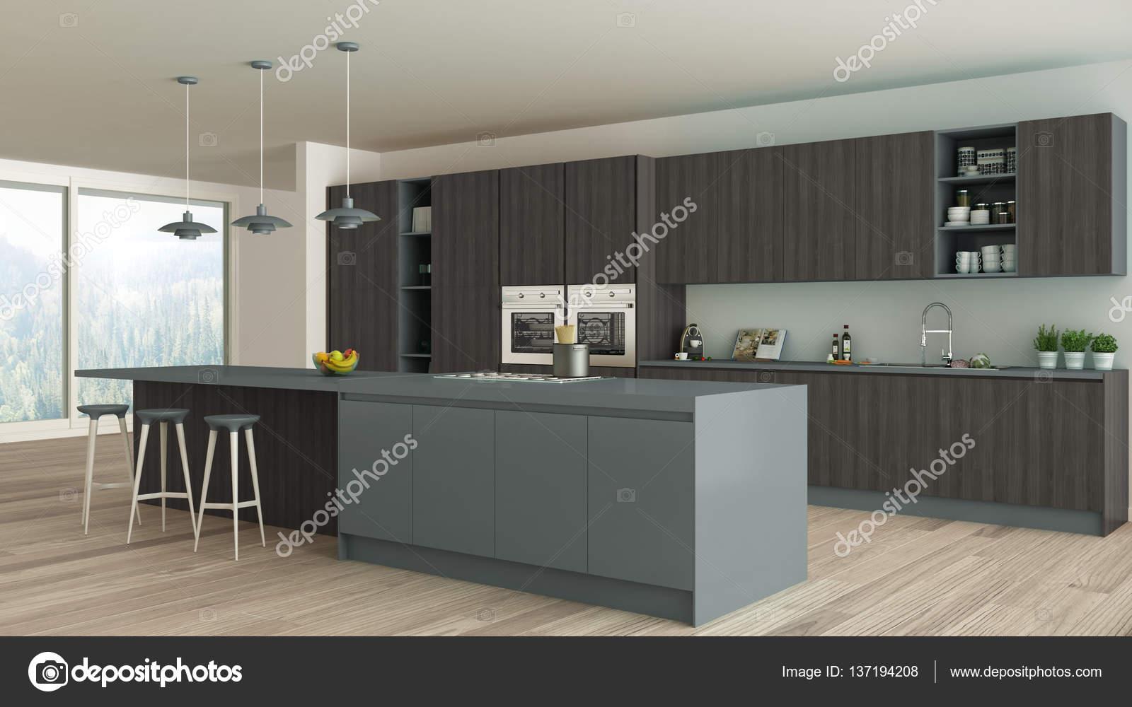 Minimalistische keuken met houten en grijze details scandinavische