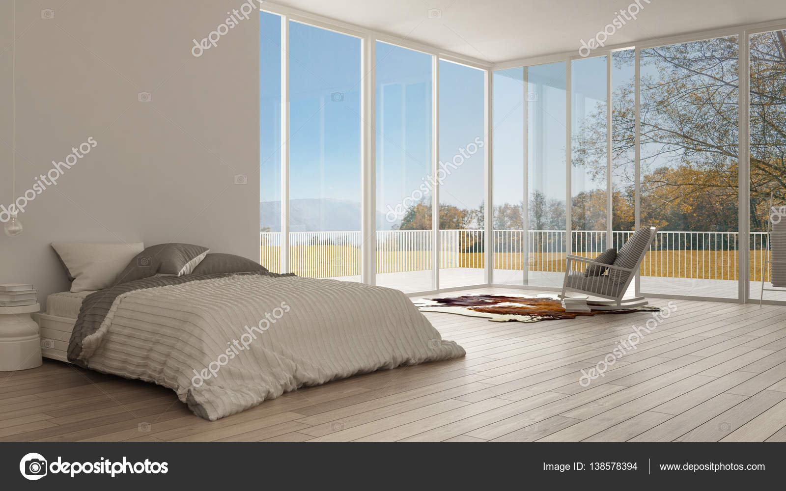 Minimalistisch interieur nachtkastje dubbel bed met nachtkastje