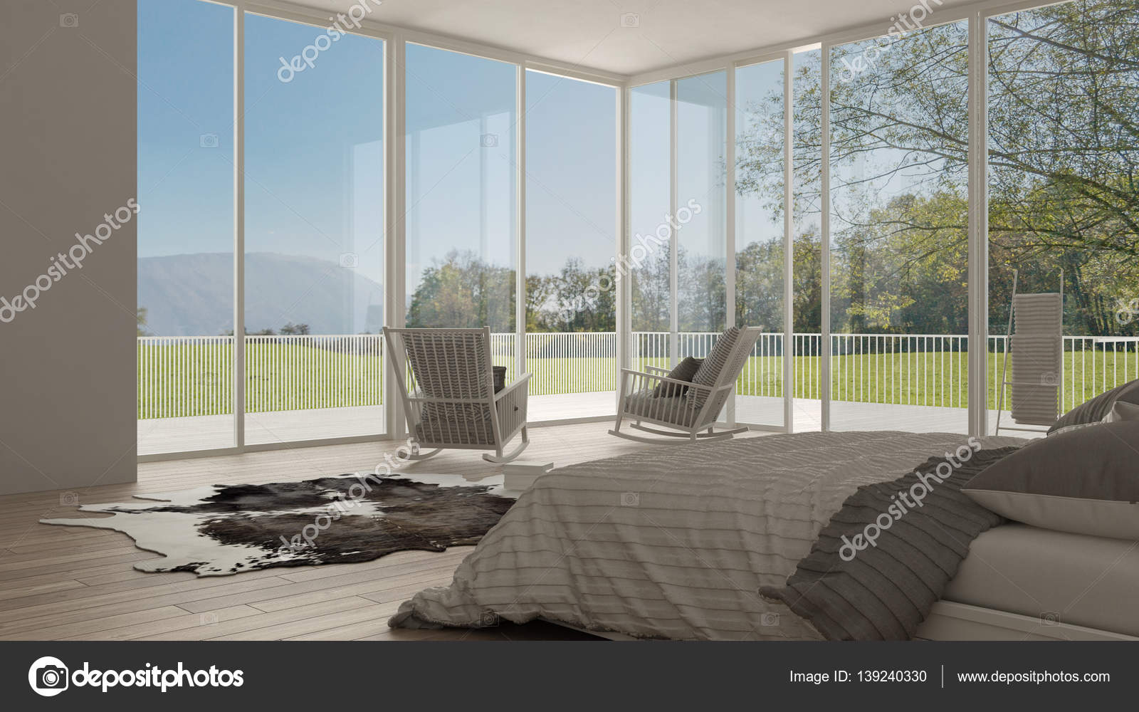 Klassieke slaapkamer minimalistische witte interieur grote ramen