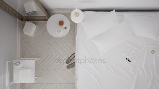 Skandynawskie Klasyczna Biała Sypialnia Widok Z Góry Wnętrz Spacer Steady Cam Minimalistyczny Design