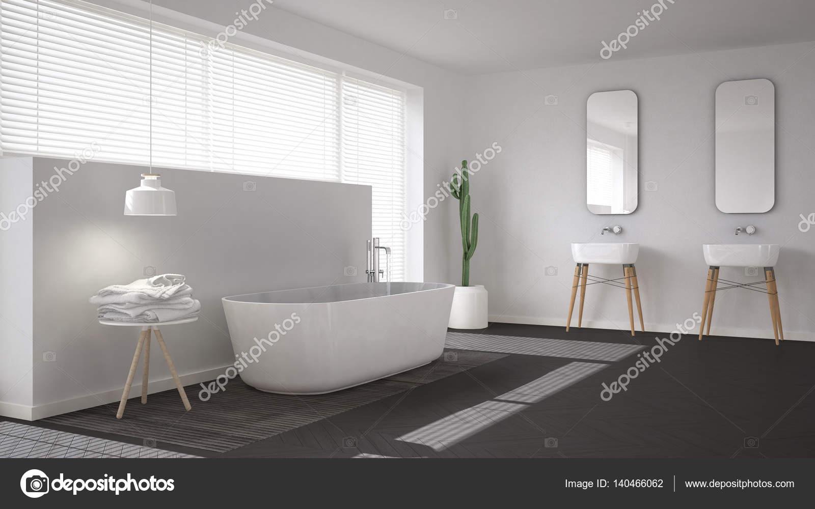 Bagno scandinavo bianco minimalista interior design u foto stock