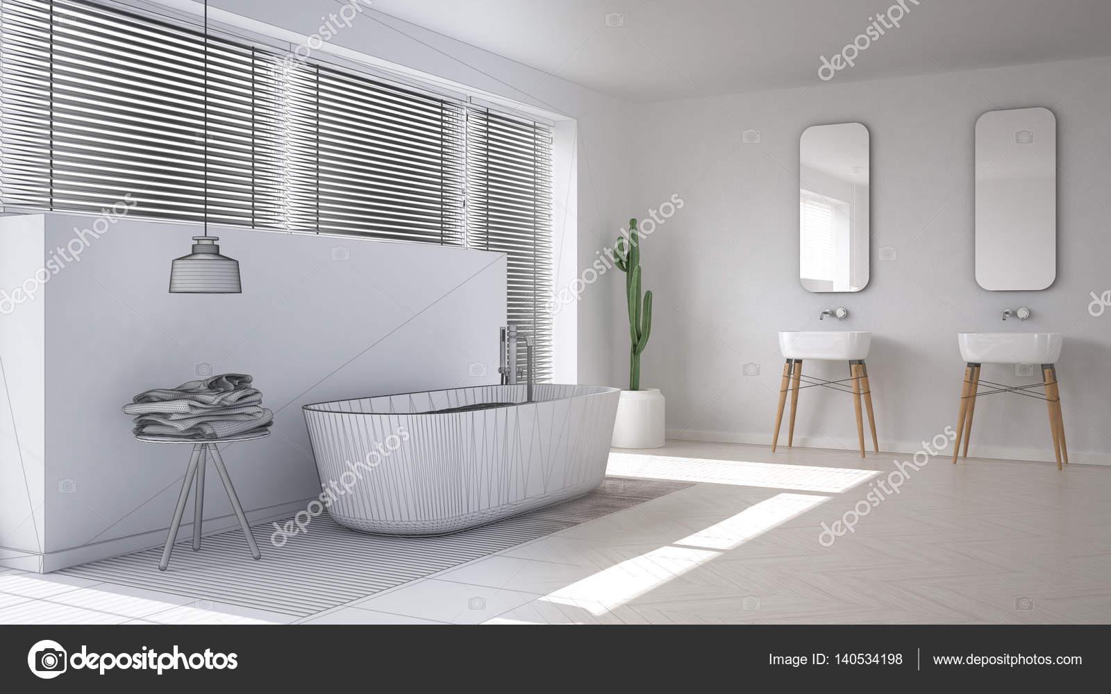 Scandinavische badkamer witte minimalistische interieur design