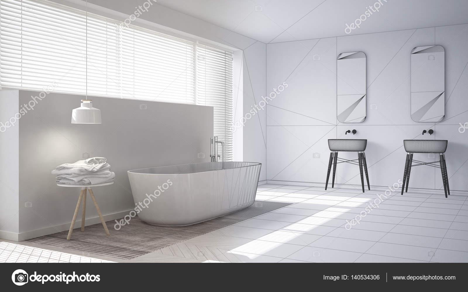 Scandinavian bathroom, white minimalistic interior design, abstr ...