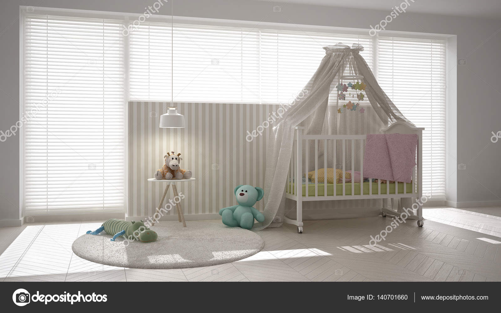 Scandinavian white child bedroom with canopy crib, minimal inter  Stock  Photo #140701660