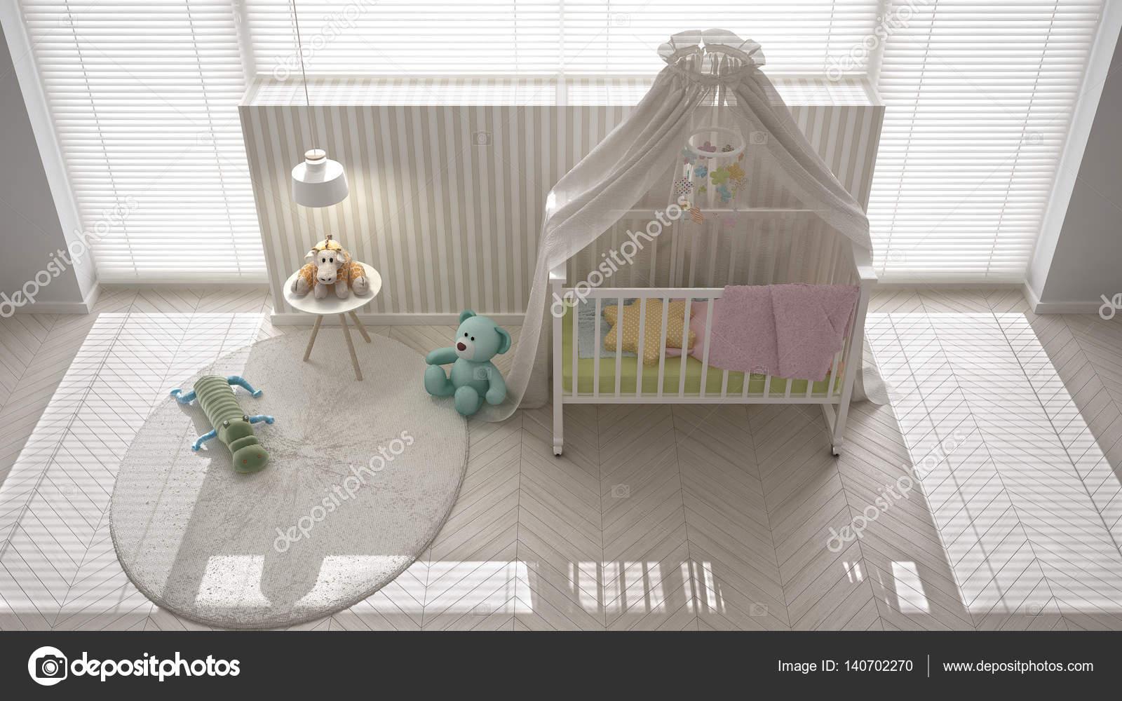 Camera da letto scandinavo bianco bambino con culla baldacchino