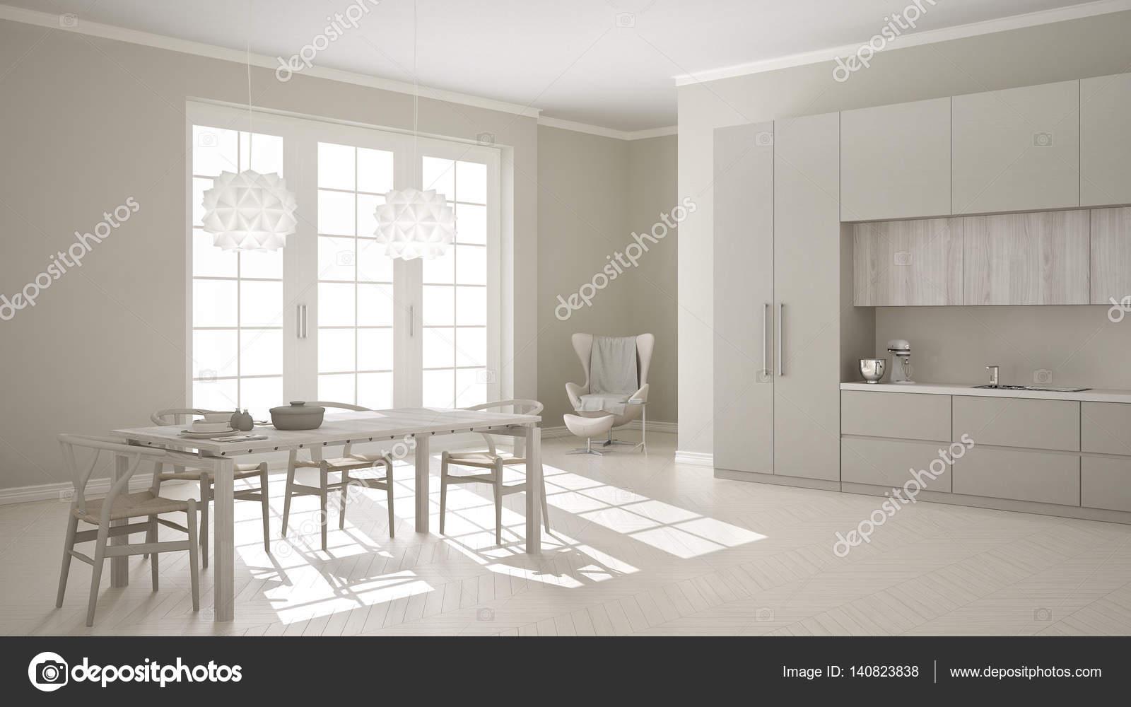 Skandinavische klassische weiße Küche mit Holz- und grauen details ...