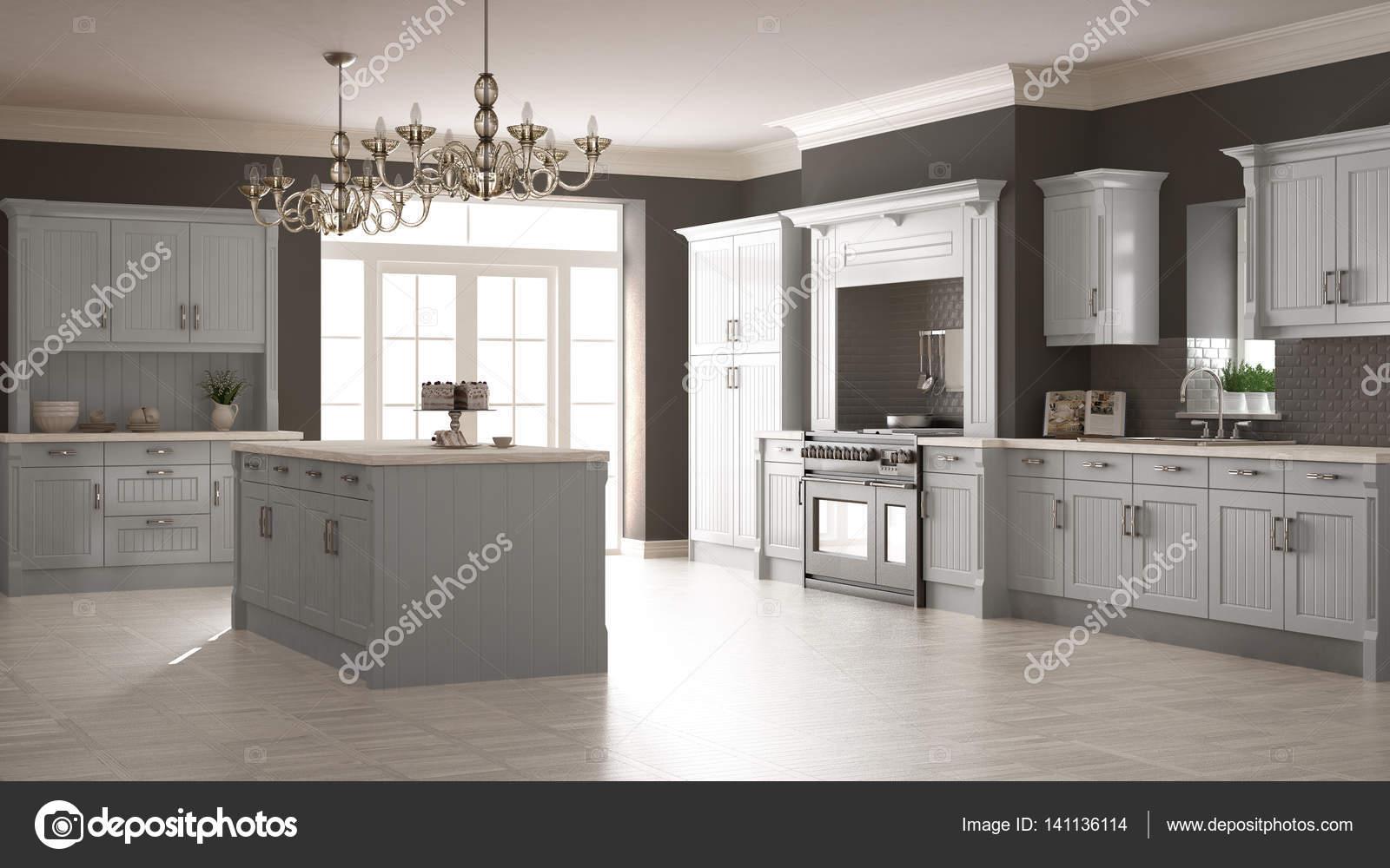 Klassische Küche, skandinavischen minimal Innenarchitektur mit woode ...