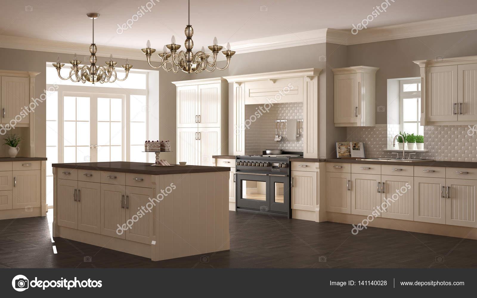 Klassieke keuken scandinavische minimale interieur met woode