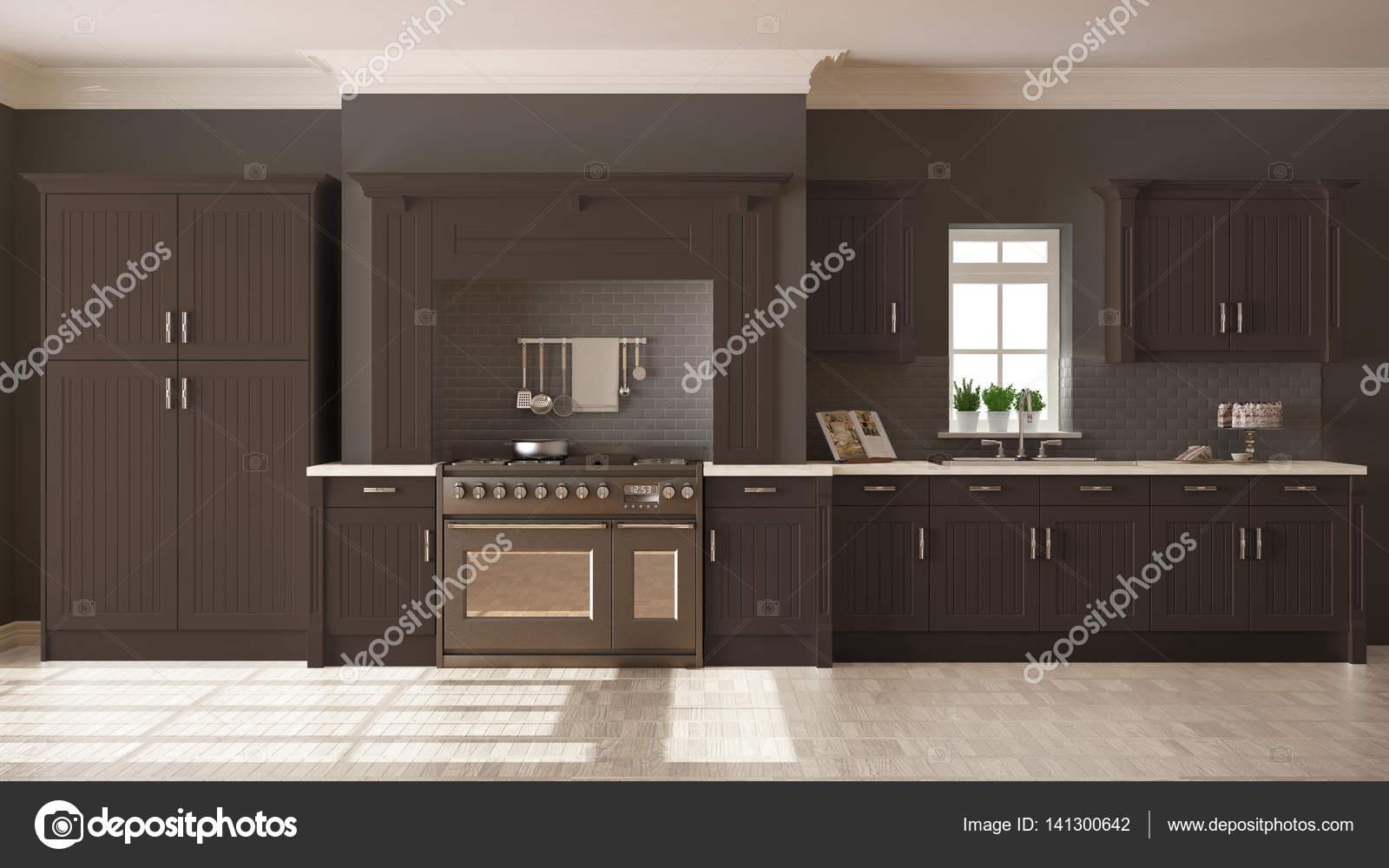 Classic Kitchen Scandinavian Minimal Interior Design With Woode Stock Photo C Archiviz 141300642