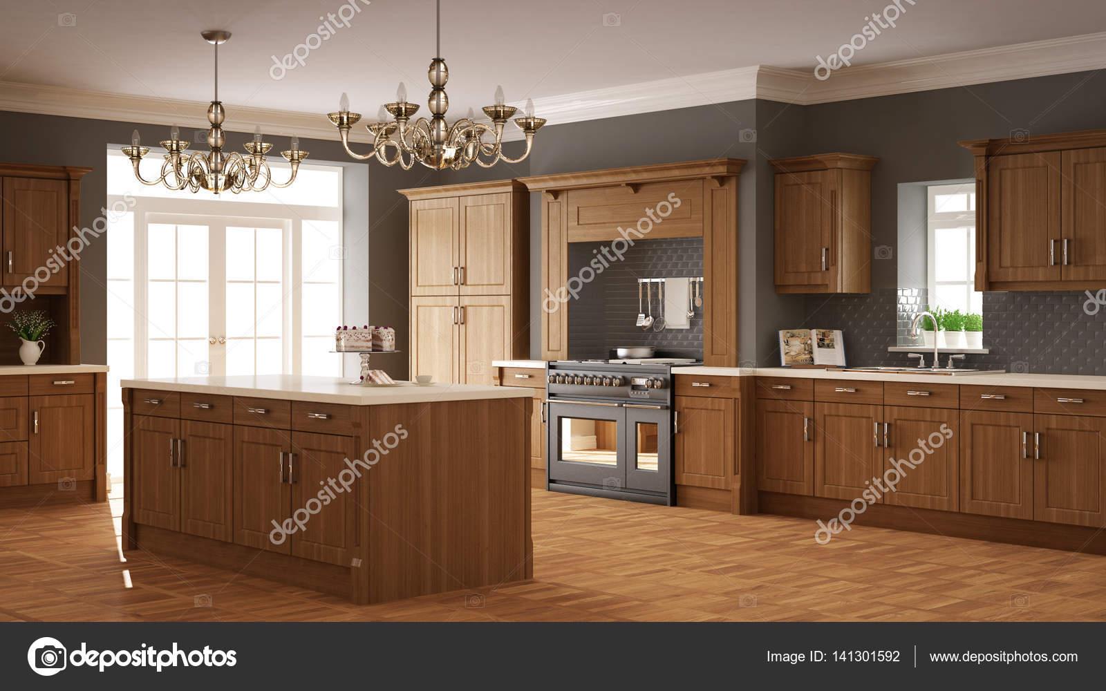 Cocina Clasica Diseno Interior Elegante Con Detalles De Madera - Cocina-clasica