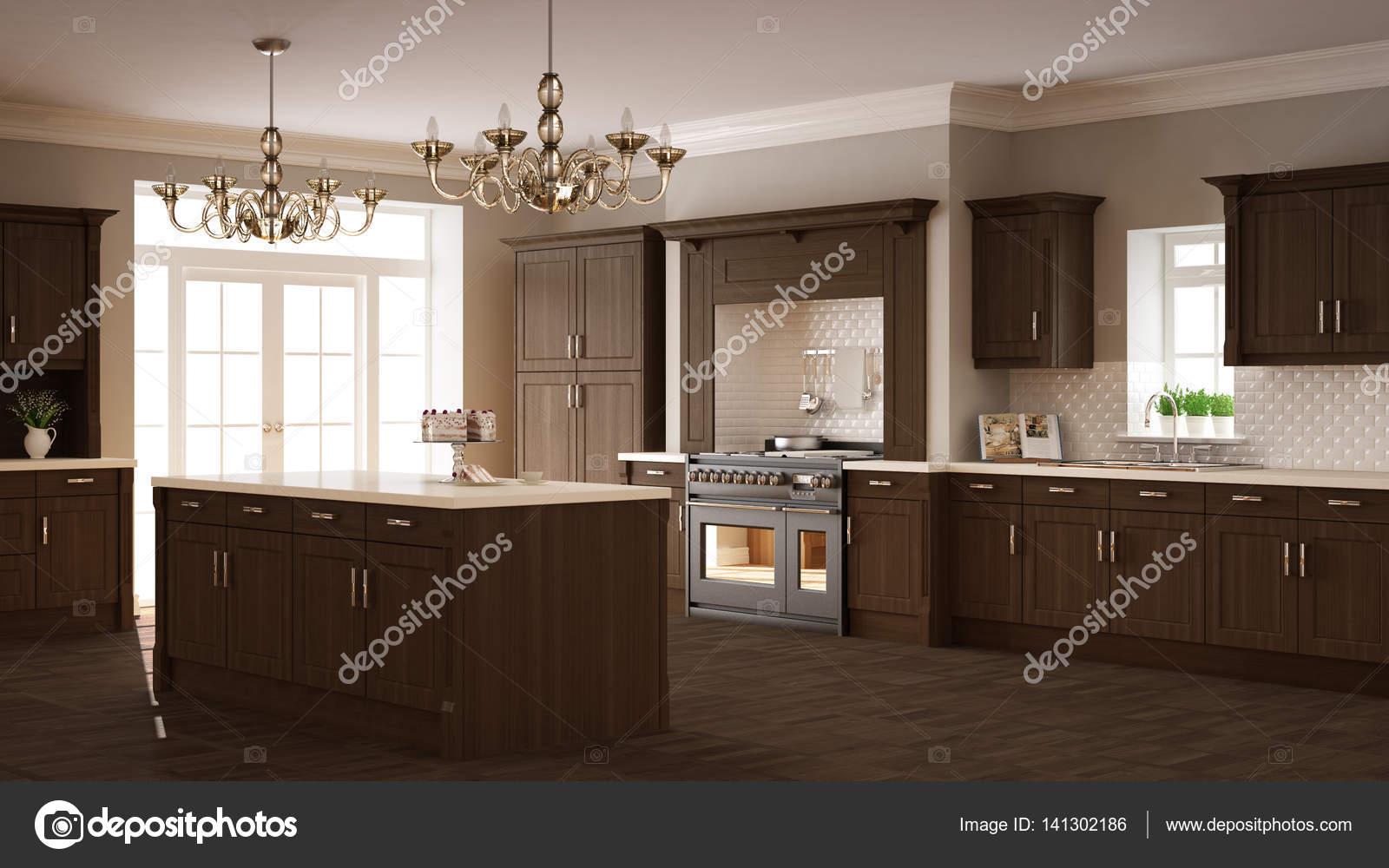 Classic Kitchen Elegant Interior Design With Wooden Details Stock