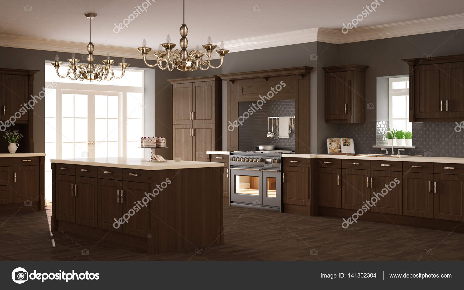 Klassische Küche, elegantes Interieur mit Holzdetails — Stockfoto ...