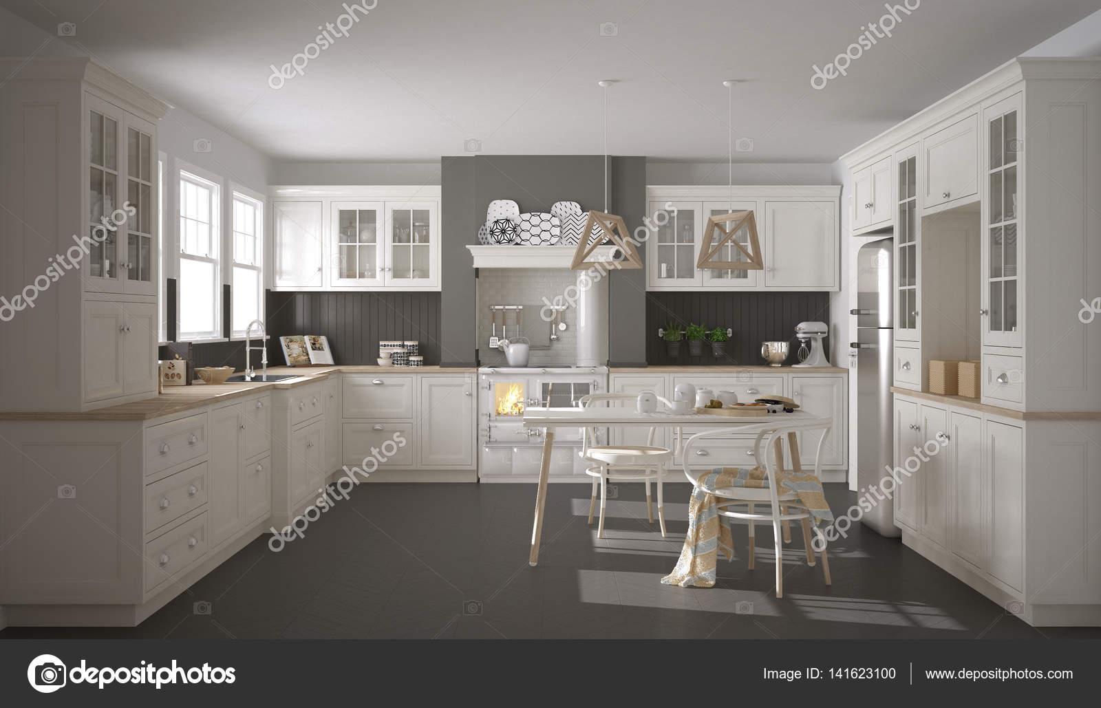 Skandinavische klassische weiße Küche mit Holzelementen, minimali ...