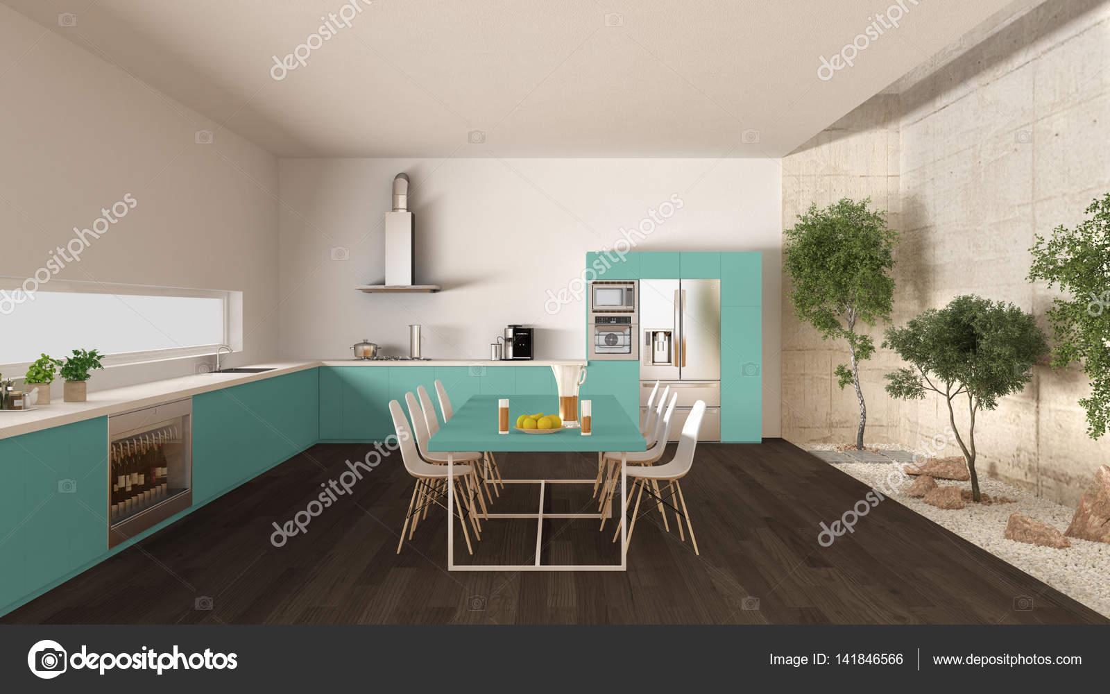 Cuisine blanche et turquoise avec jardin intérieur, intérieur ...