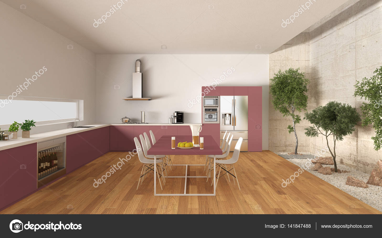 Cucina bianca e rossa con giardino interno, interno minimal design ...