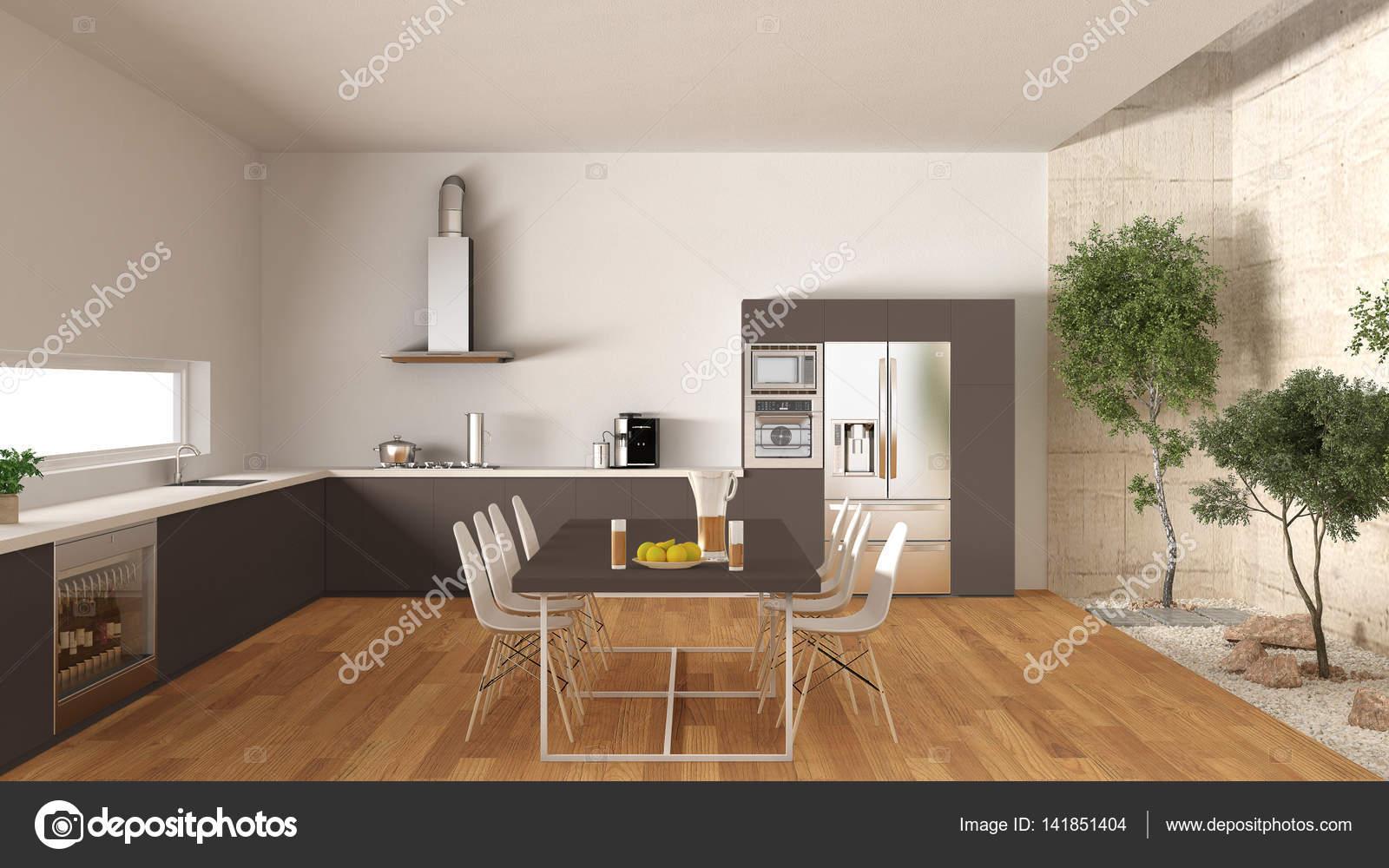 Cucina bianca e marrone con giardino interno, desi interni minimal ...