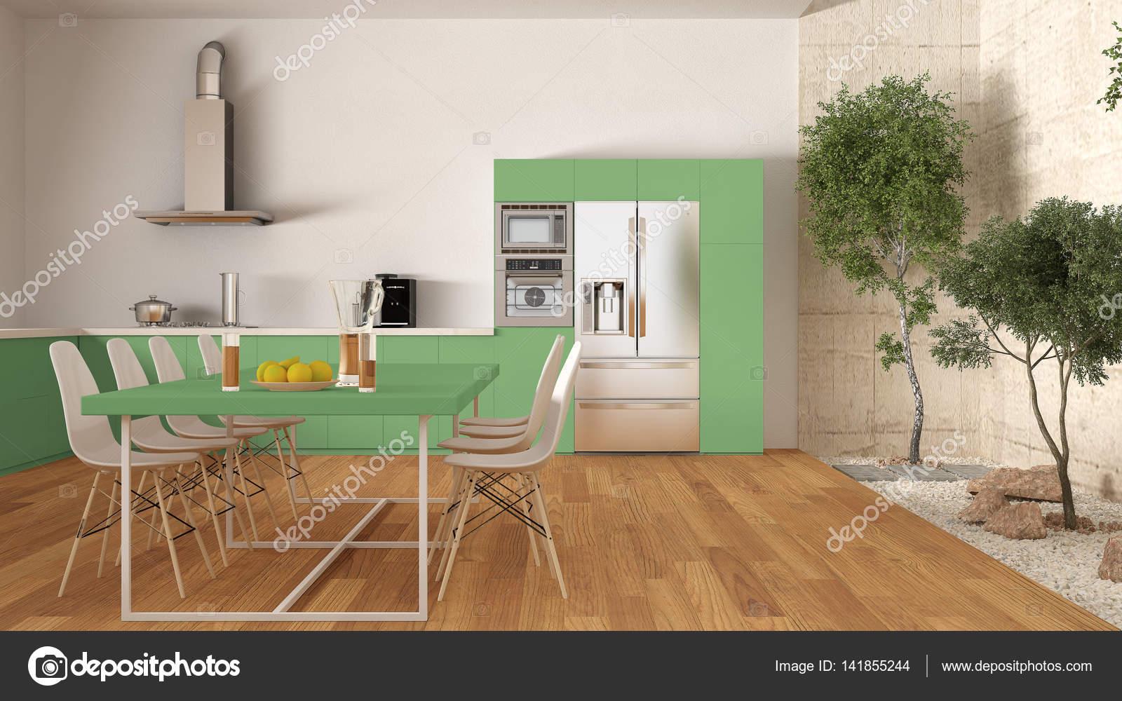 Cuisine Blanche Et Verte Avec Jardin Intérieur, Design Du0027intérieur Minimal  U2014 Image De ...