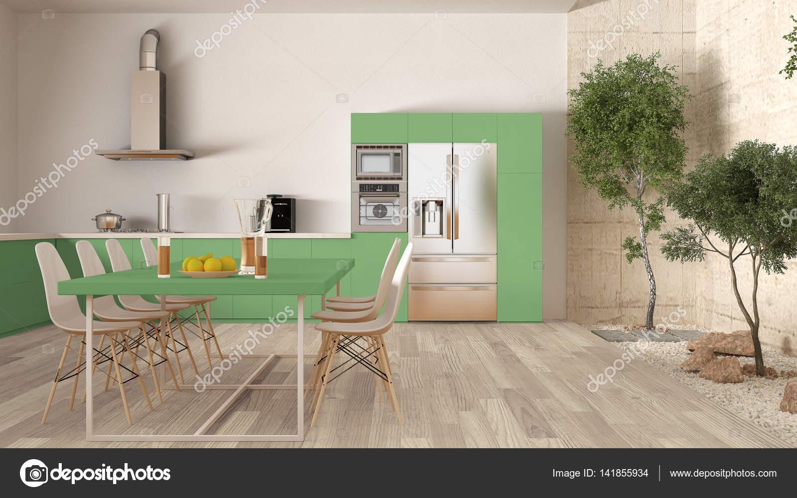 cuisine blanche et verte avec jardin intrieur desi intrieur minimal photo