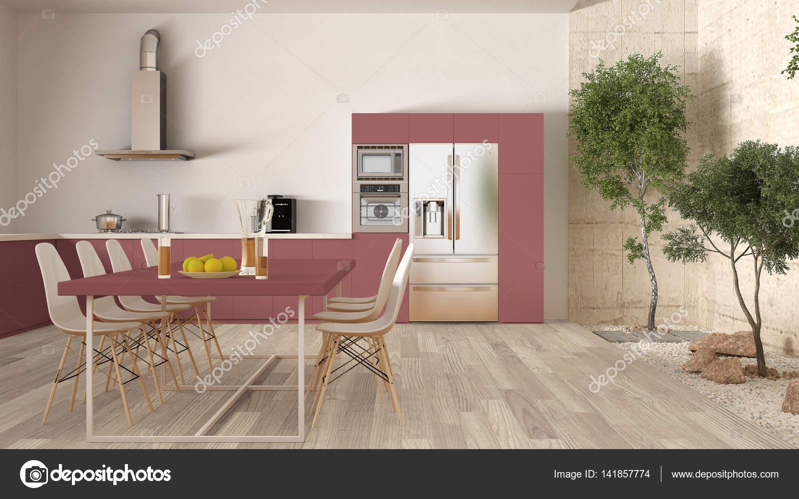 Cuisine blanche et rouge avec jardin intérieur, design d\'intérieur ...