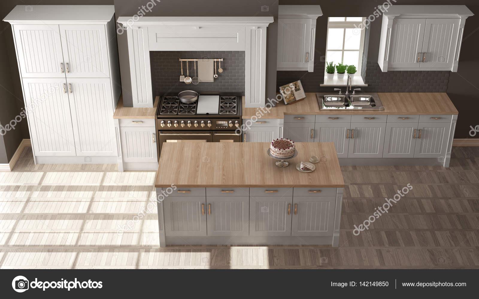 Cucina classica, interni eleganti con dettagli in legno — Foto Stock ...