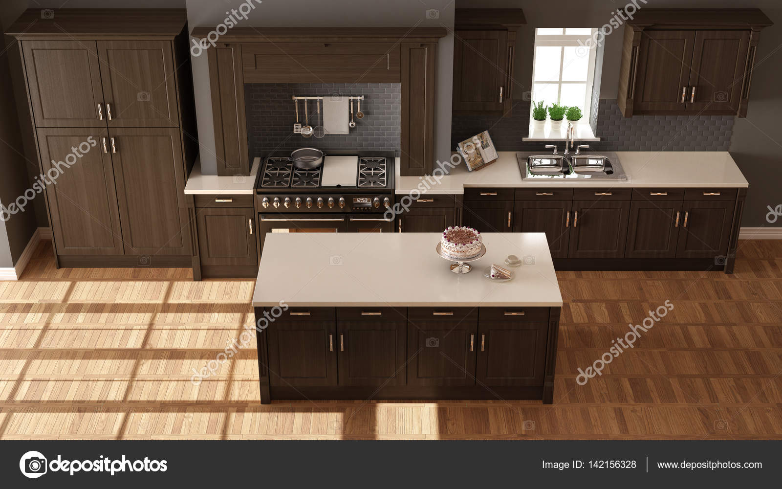 Cucine classiche, eleganti interni di design con dettagli in legno ...