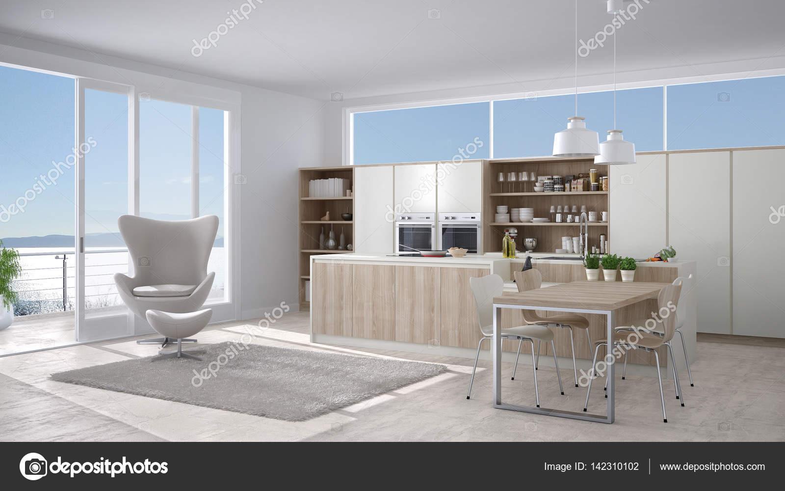 Moderne witte keuken met houten details groot raam met zee of