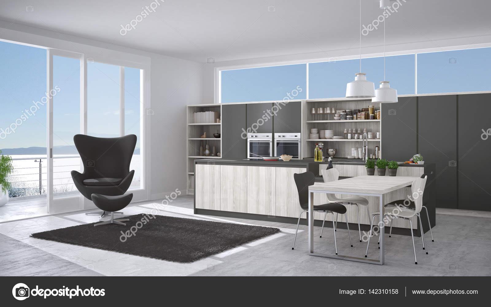 Cozinha Moderna Branca E Cinza Com Detalhes Em Madeira Janela