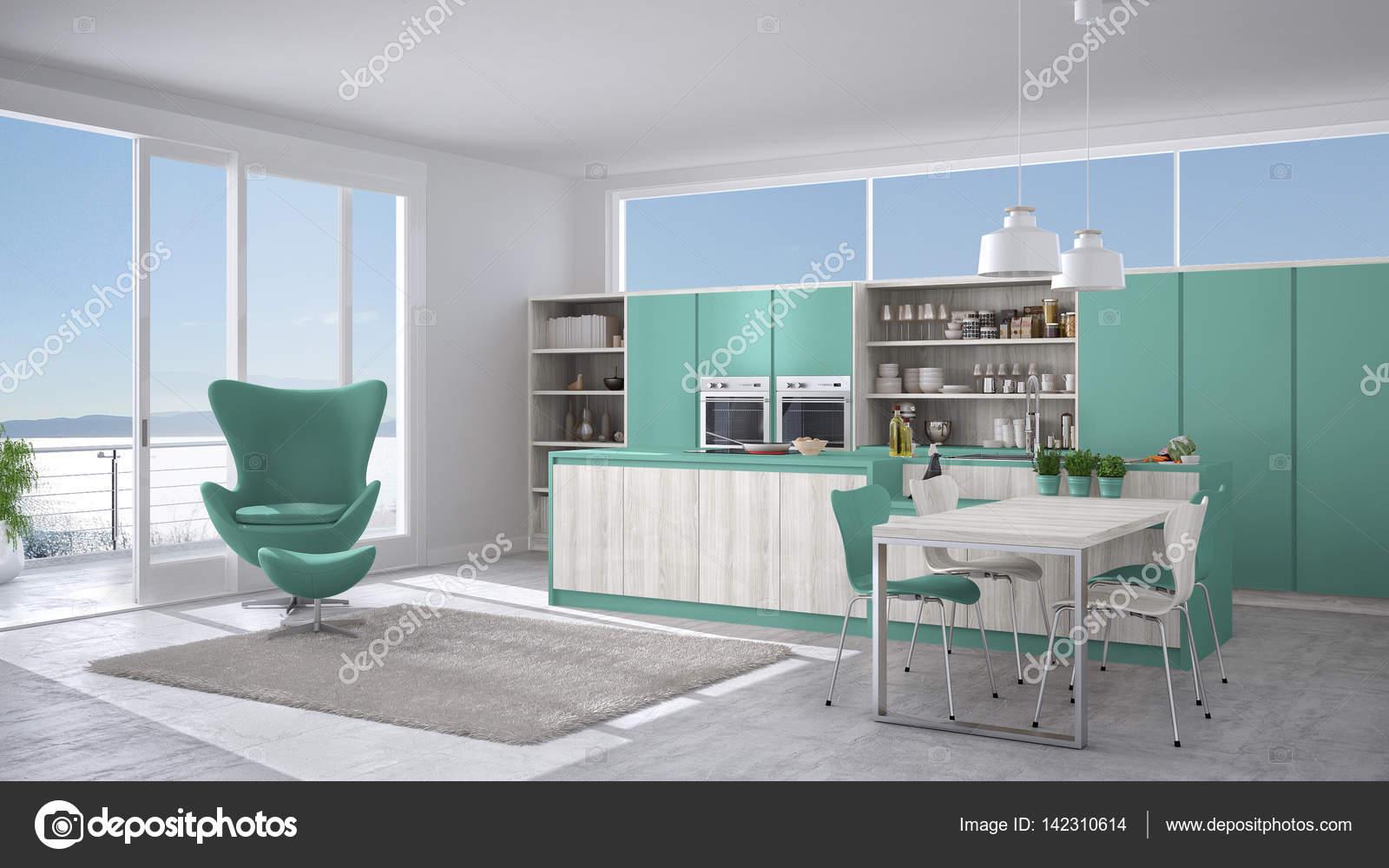 Cucina moderna bianca e turchese con dettagli in legno, grande vento ...