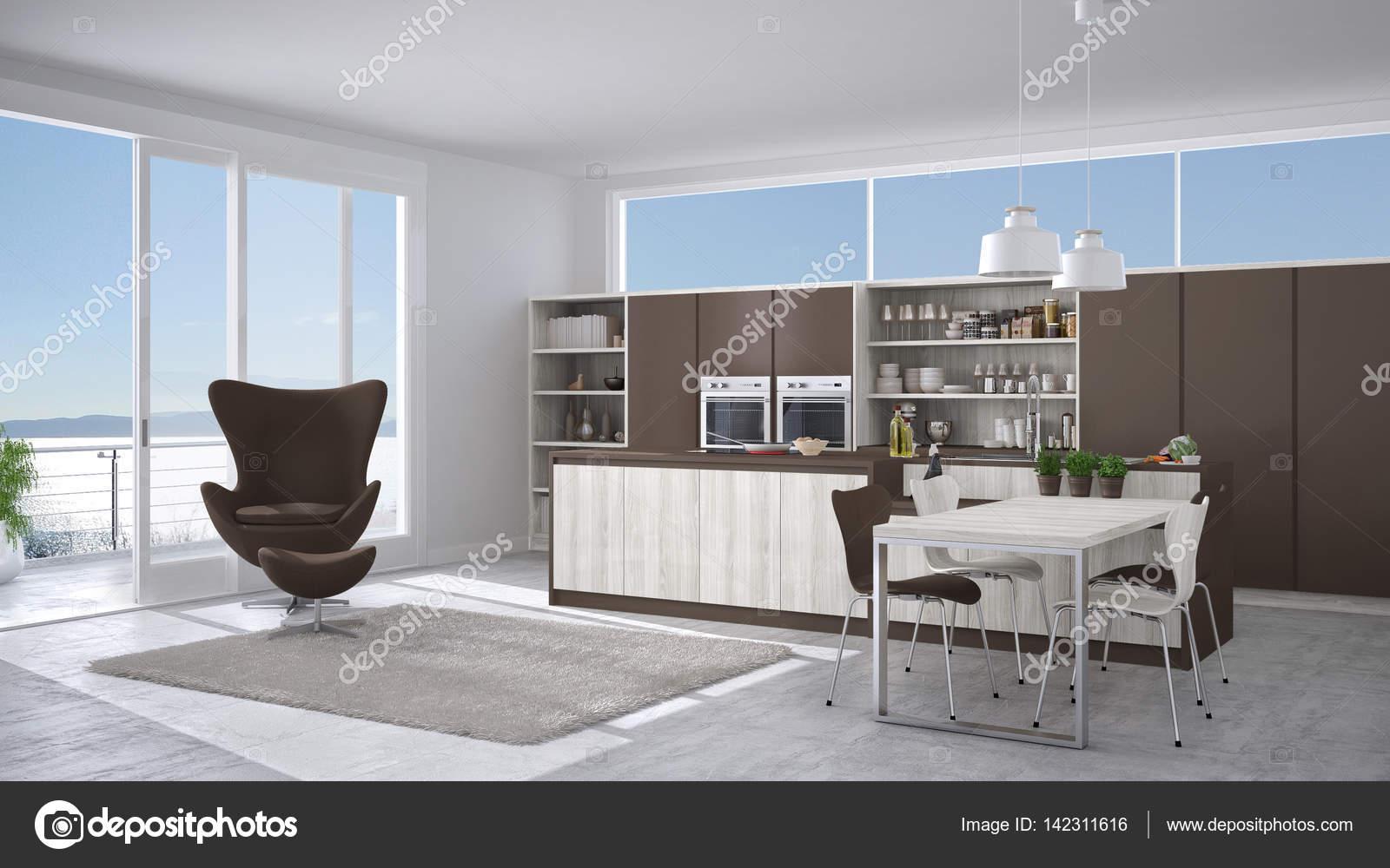 Cucina moderna bianca e marrone con dettagli in legno, grande ...