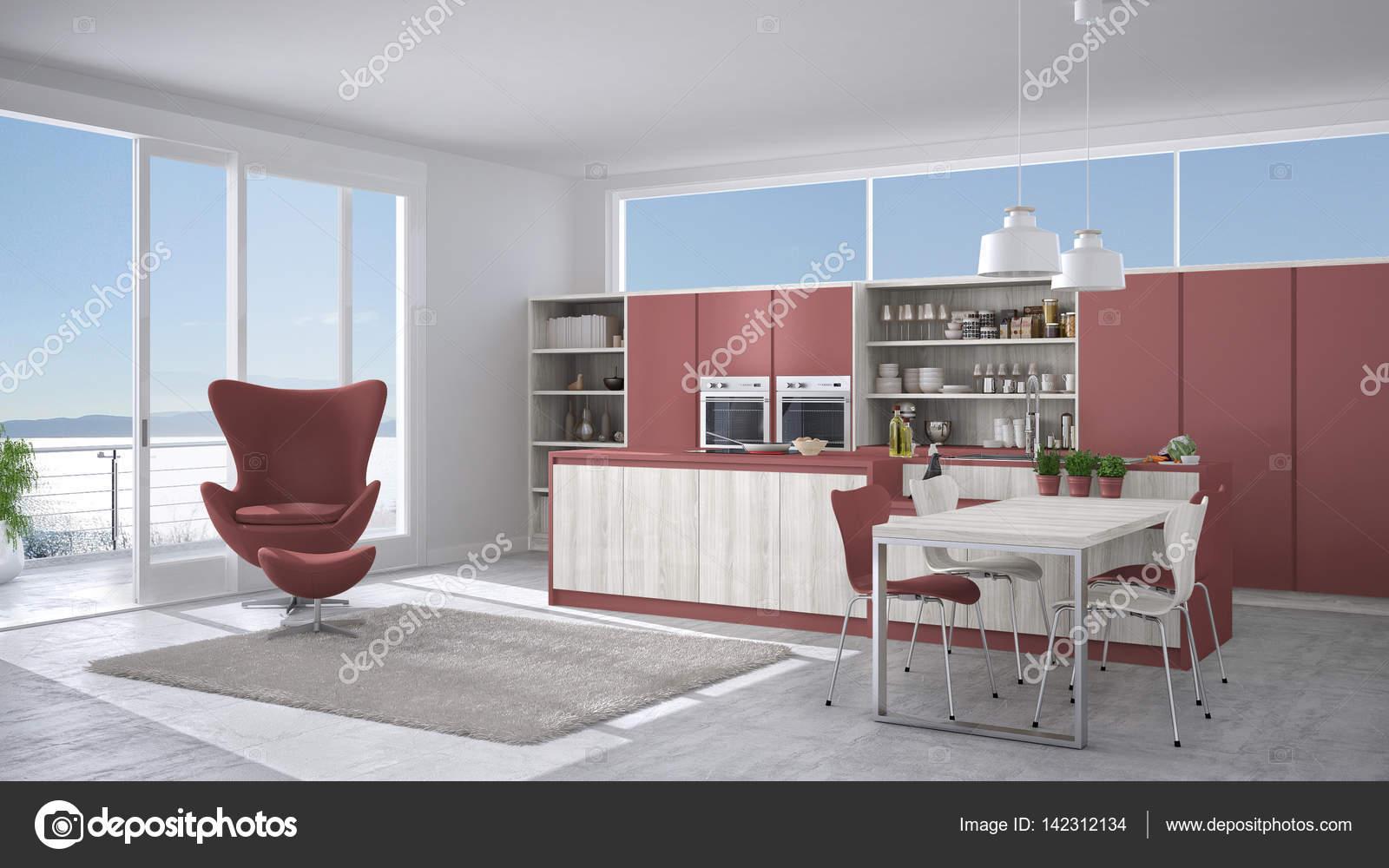 Cucina moderna bianca e rossa con dettagli in legno, con grande ...