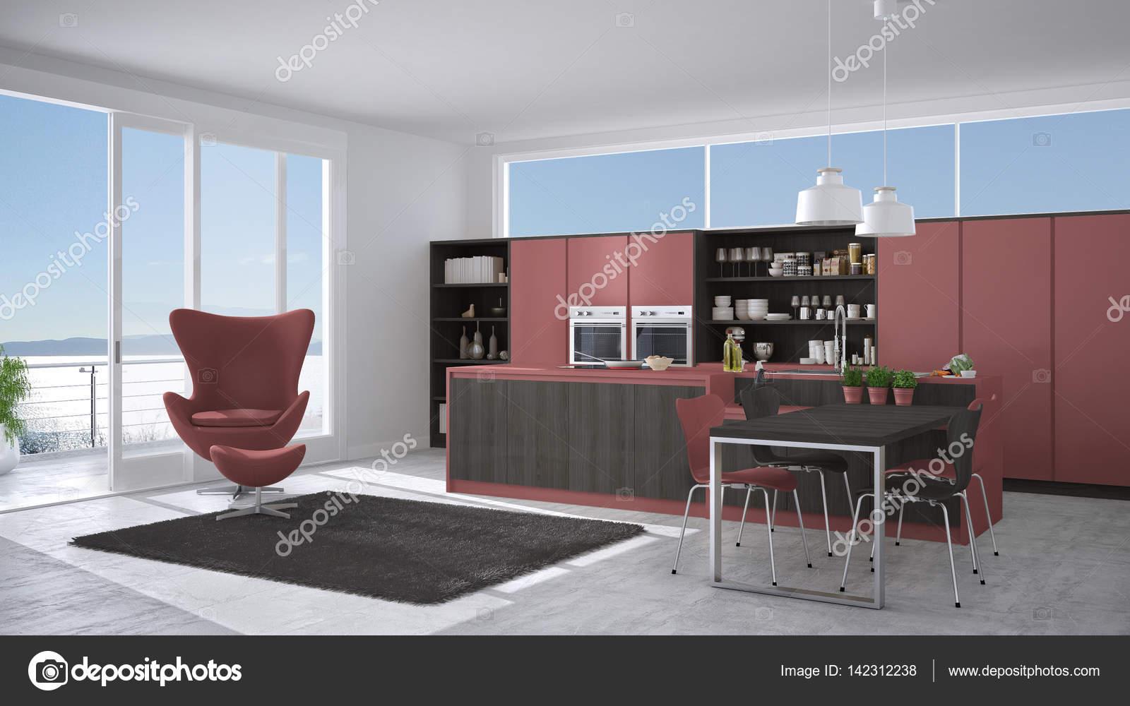 Cinza E Vermelha Cozinha Moderna Com Detalhes Em Madeira Janela