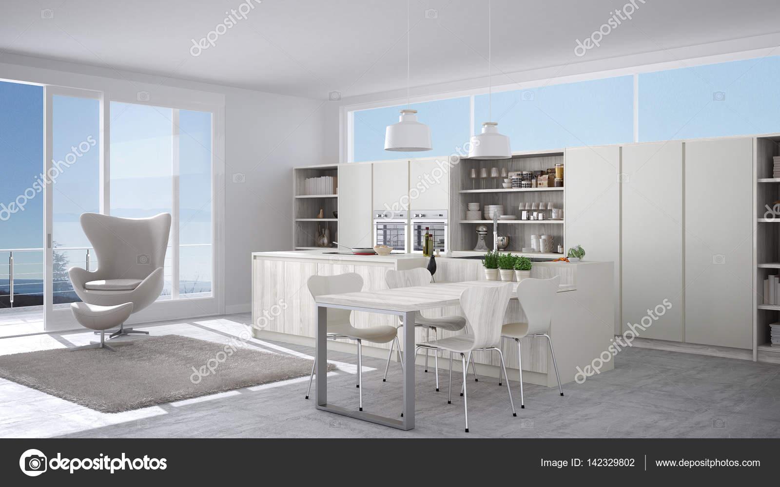 Moderna Cozinha Branca Com Detalhes Em Madeira Janela Grande Com