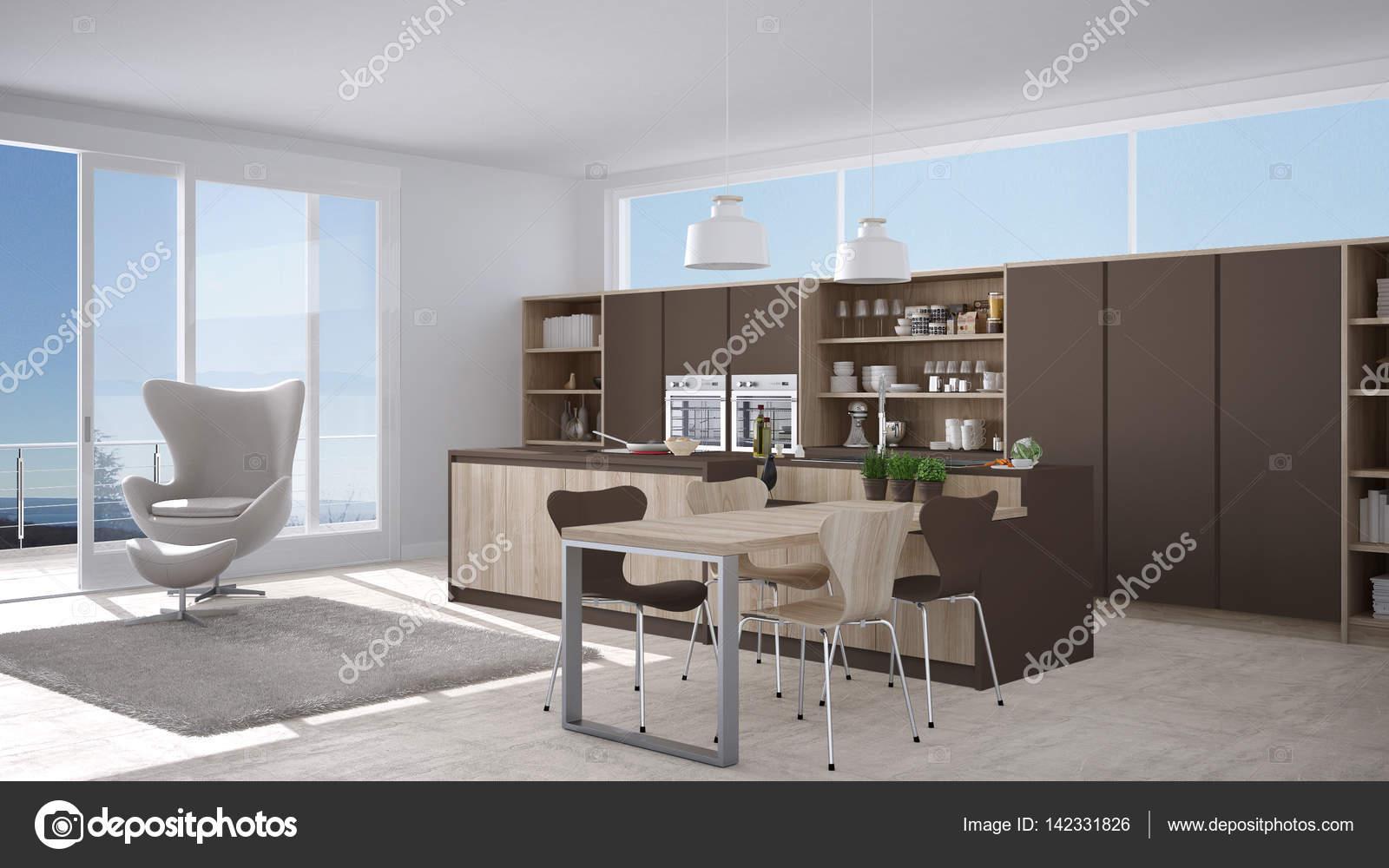 Cucina Moderna Bianca E Marrone.Cucina Moderna Bianca E Marrone Con Dettagli In Legno