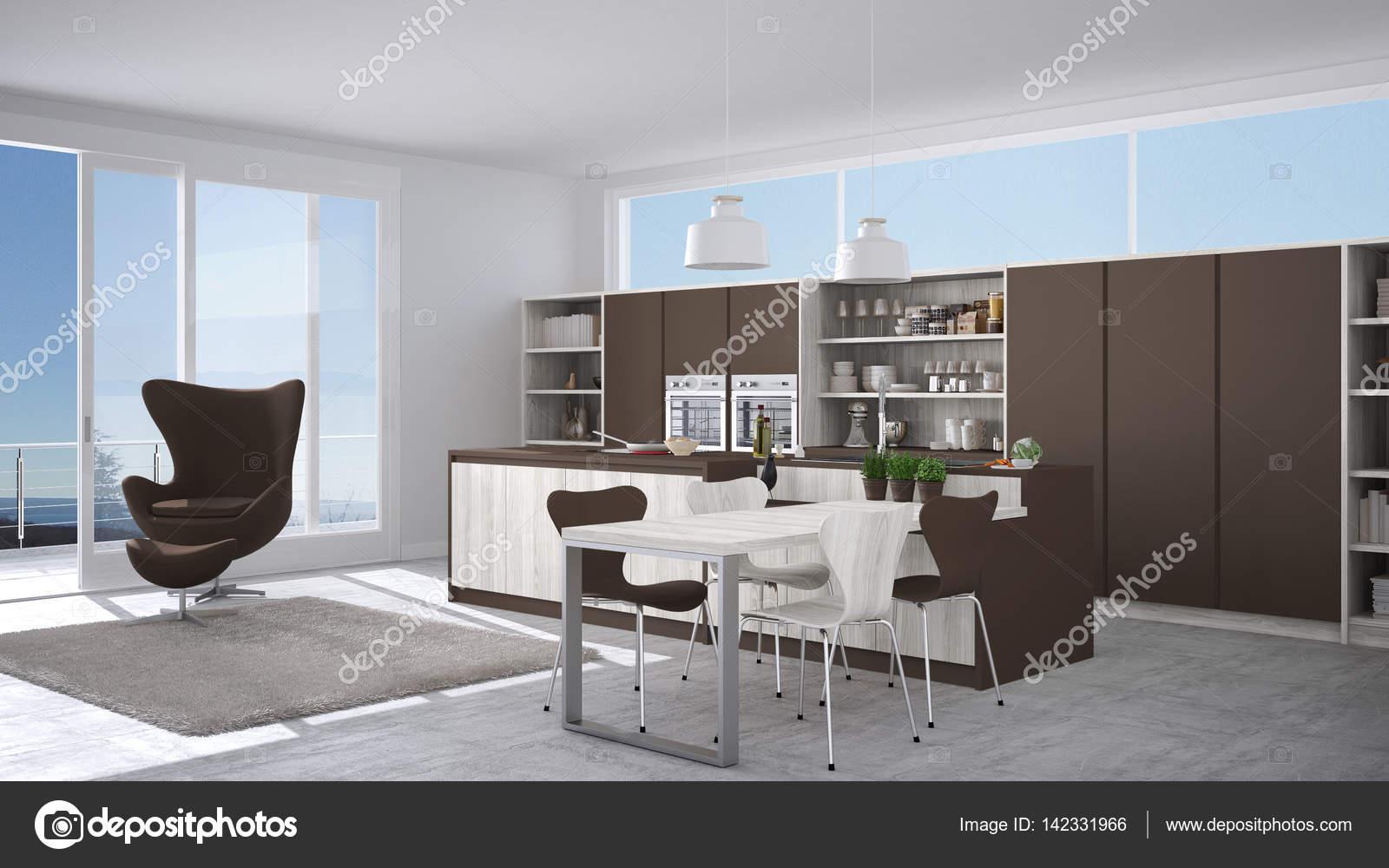 Moderne Weisse Und Braune Kuche Mit Holzelementen Grosses Fenster W