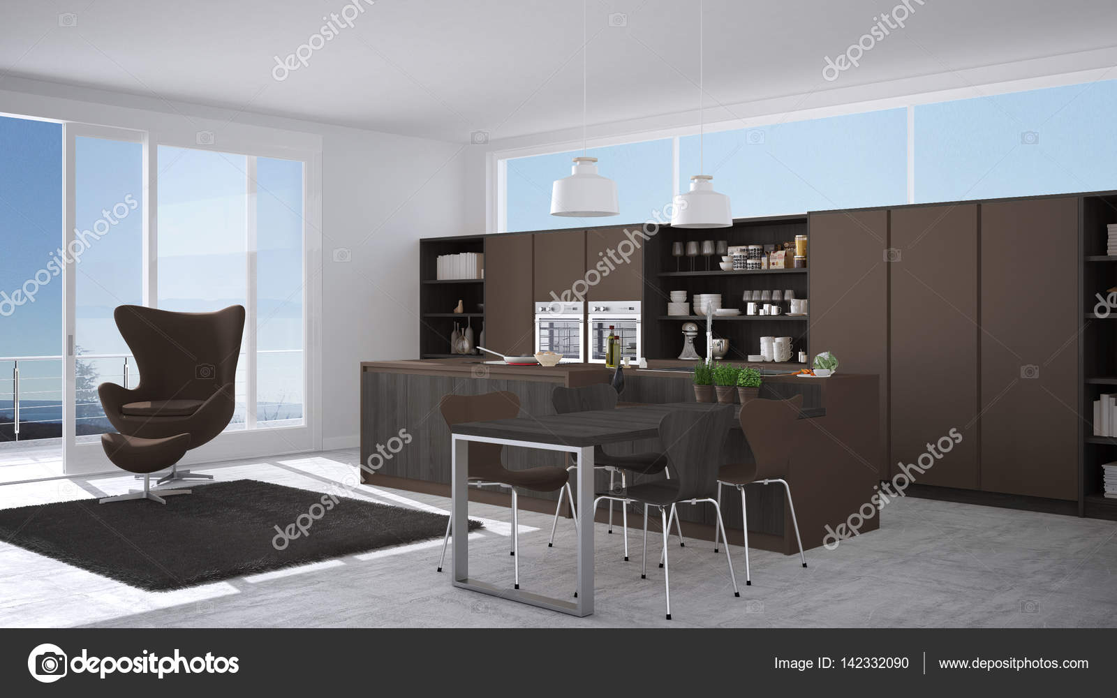 Braune Küche moderne grau braune küche mit holzelementen großes fenster wi