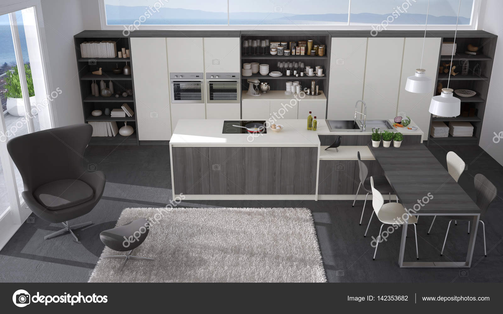 Cucina moderna bianca e grigia con dettagli in legno grande finestra wi foto stock archiviz - Cucina moderna bianca e grigia ...
