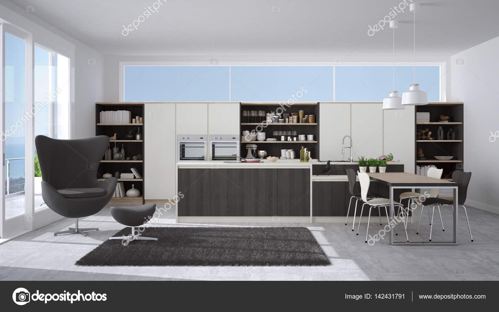 Cucina moderna bianca e grigia con dettagli in legno, grande ...