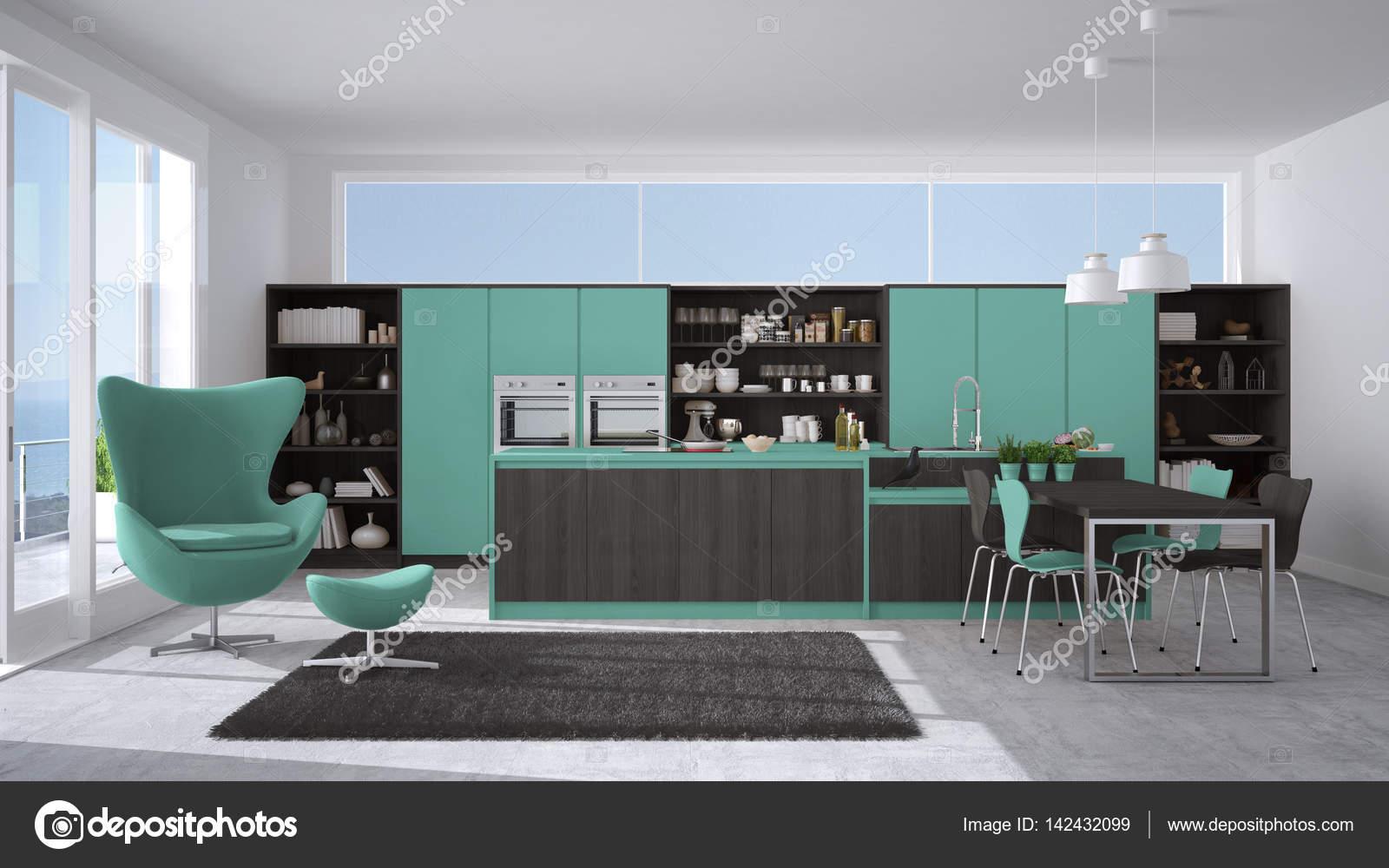 Cozinha Moderna De Cinza E Turquesa Com Detalhes Em Madeira Grande