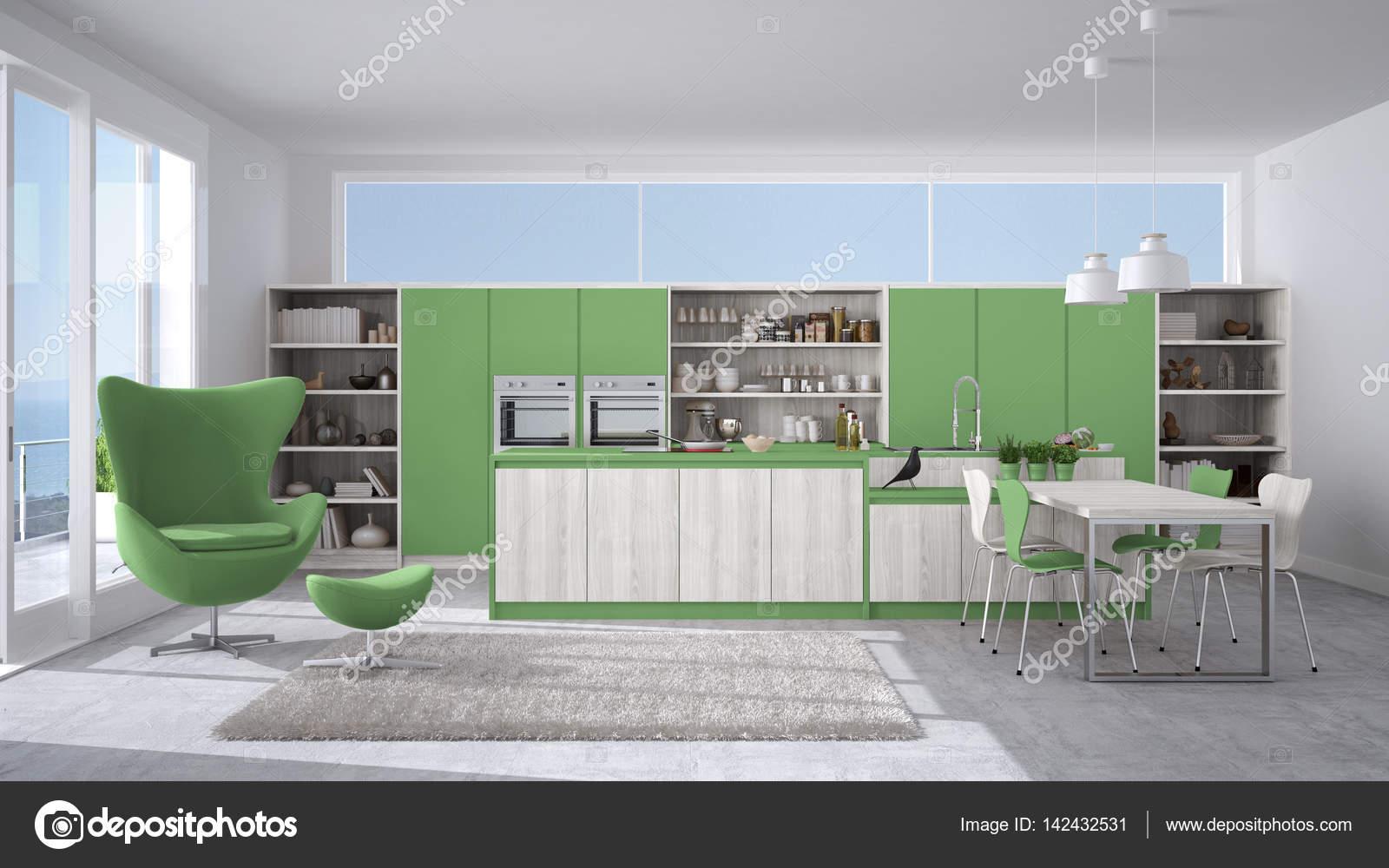 blanche et verte cuisine moderne avec des dtails en bois grande fentre avec vue mer ou lac image de archiviz