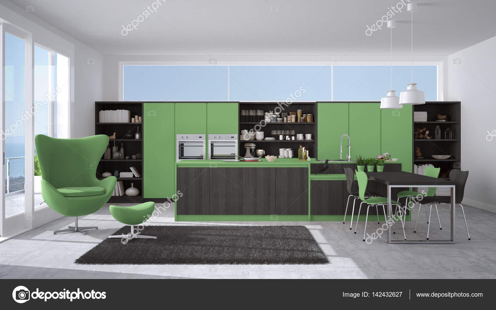 Cucina moderna grigio e verde con dettagli in legno, grande finestra ...