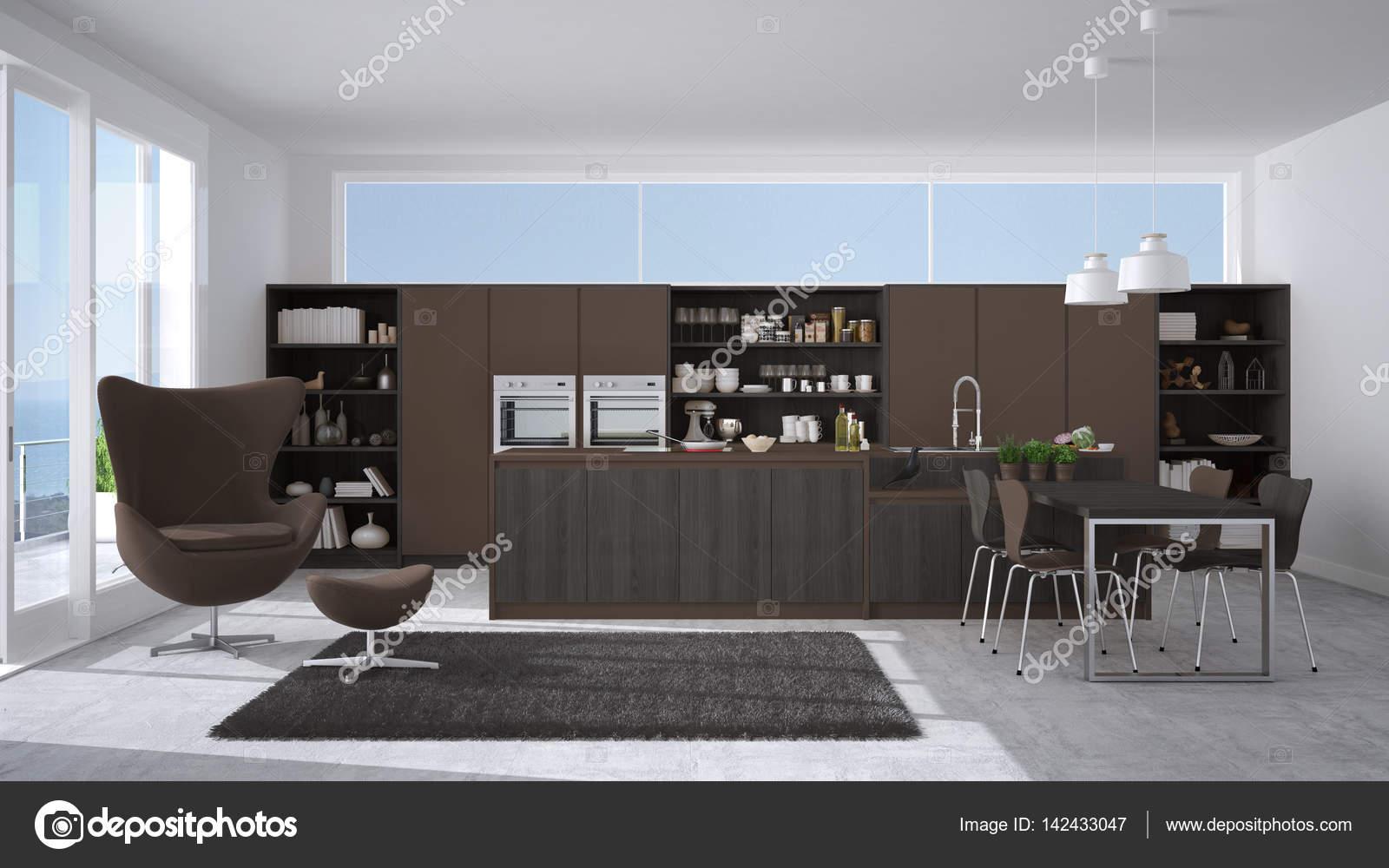 Cucina moderna grigio e marrone con dettagli in legno, grande ...