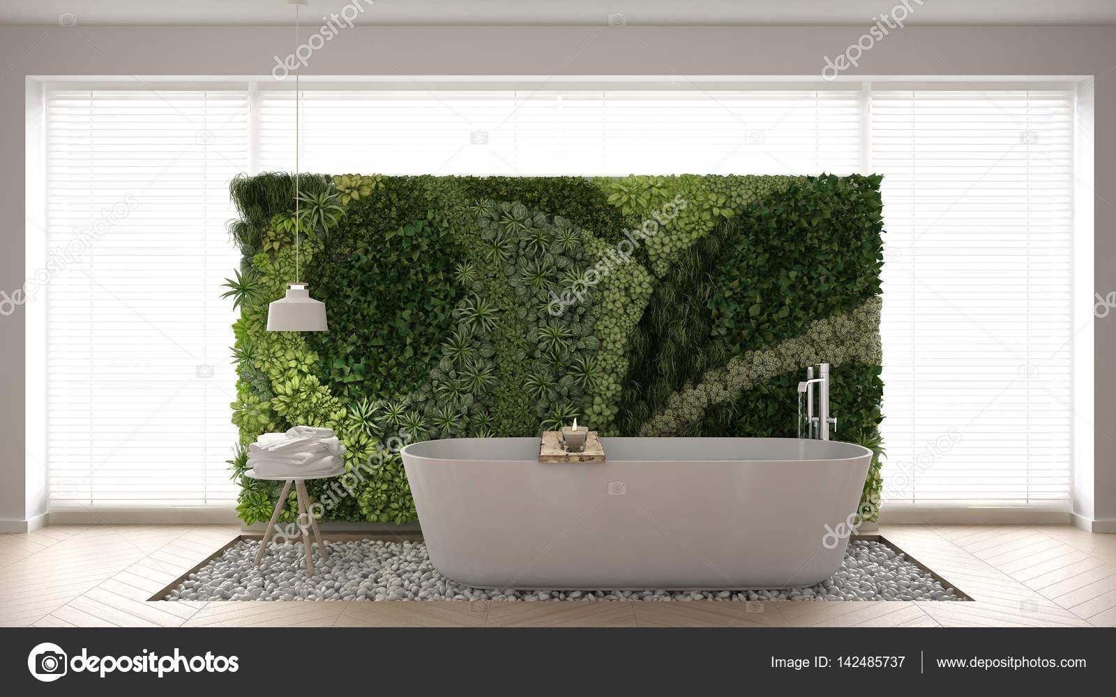 Scandinavische badkamer met verticale tuin wit minimalistische ik