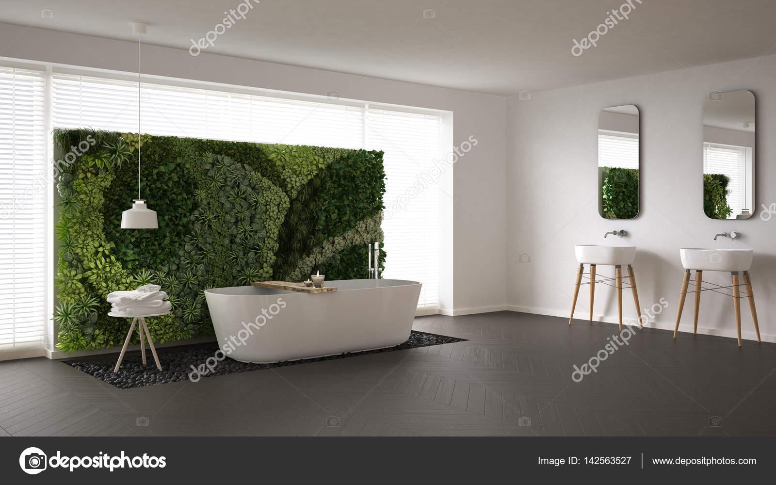 Scandinavische badkamer met verticale tuin, wit minimalistische ik ...
