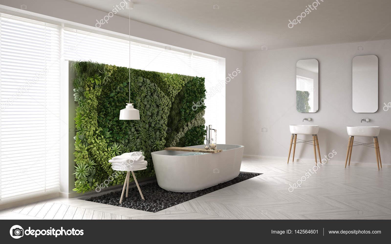 Verticale Tuin Woonkamer : Scandinavische badkamer met verticale tuin wit minimalistische ik