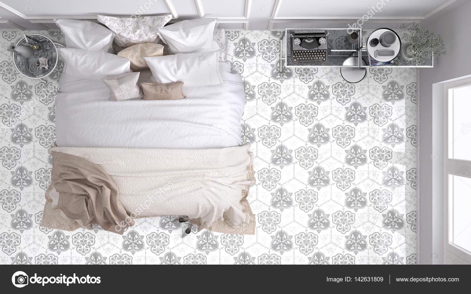 Camera da letto classica vista dall alto con marmo vecchio
