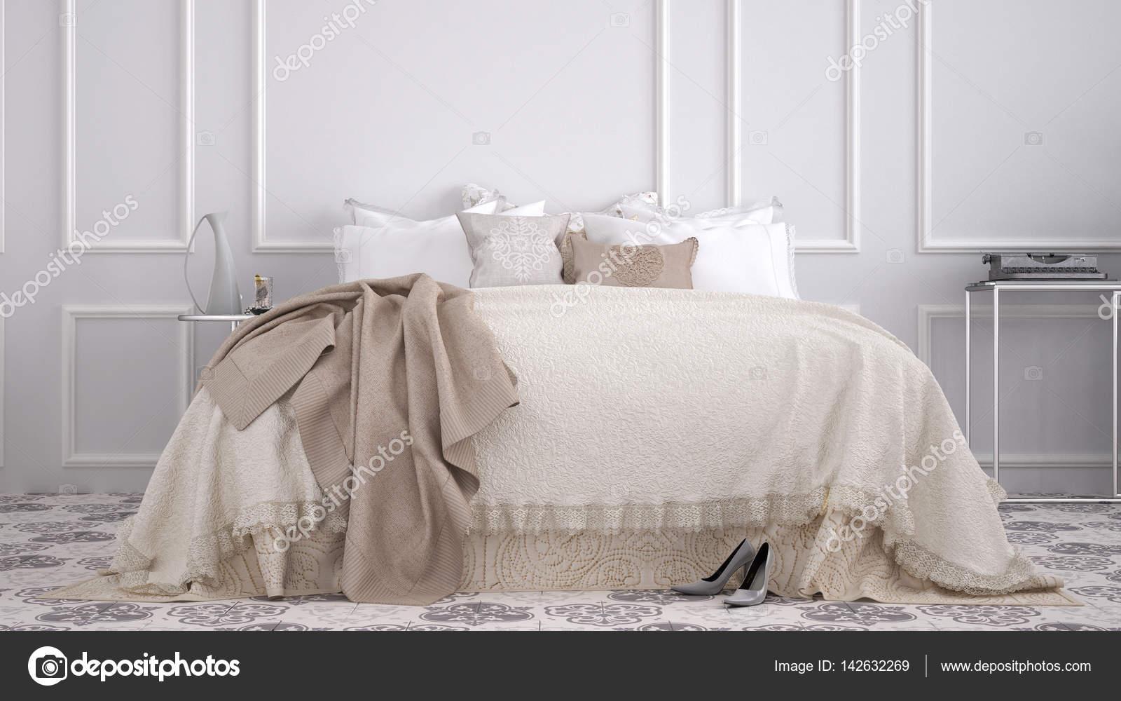 Camera da letto classica con piastrelle beige vintage vecchi marmo