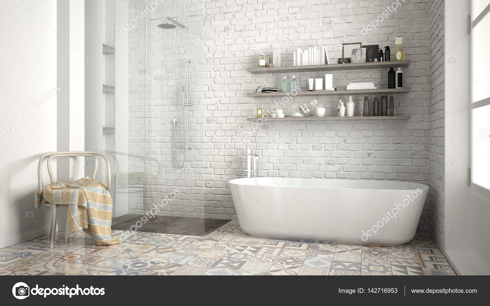 Scandinavian Bathroom Classic White Vintage Interior Design Stock Photo